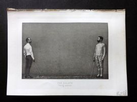 Badminton Library 1889 Sword Fencing Print. The Salute. Taking Position